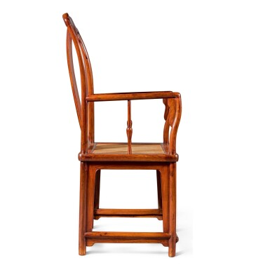 View 5. Thumbnail of Lot 107. A MAGNIFICENT PAIR OF LARGE HUANGHUALI CONTINUOUS YOKEBACK ARMCHAIRS, NANGUANMAOYI, LATE MING DYNASTY | 晚明 黃花梨南官帽椅成對.
