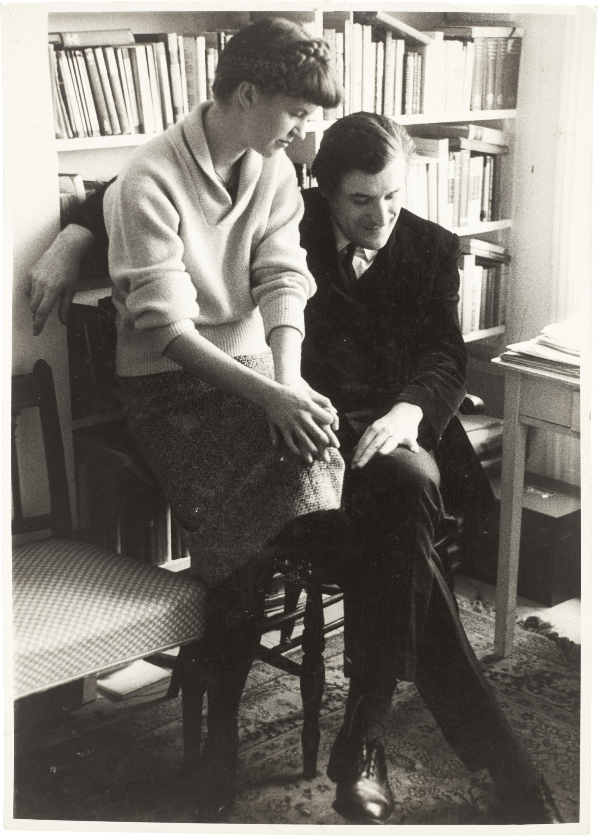 View full screen - View 1 of Lot 43. Sylvia Plath and Ted Hughes | photographic portrait by David Bailey, inscribed by Plath, 1961, and another press photo.