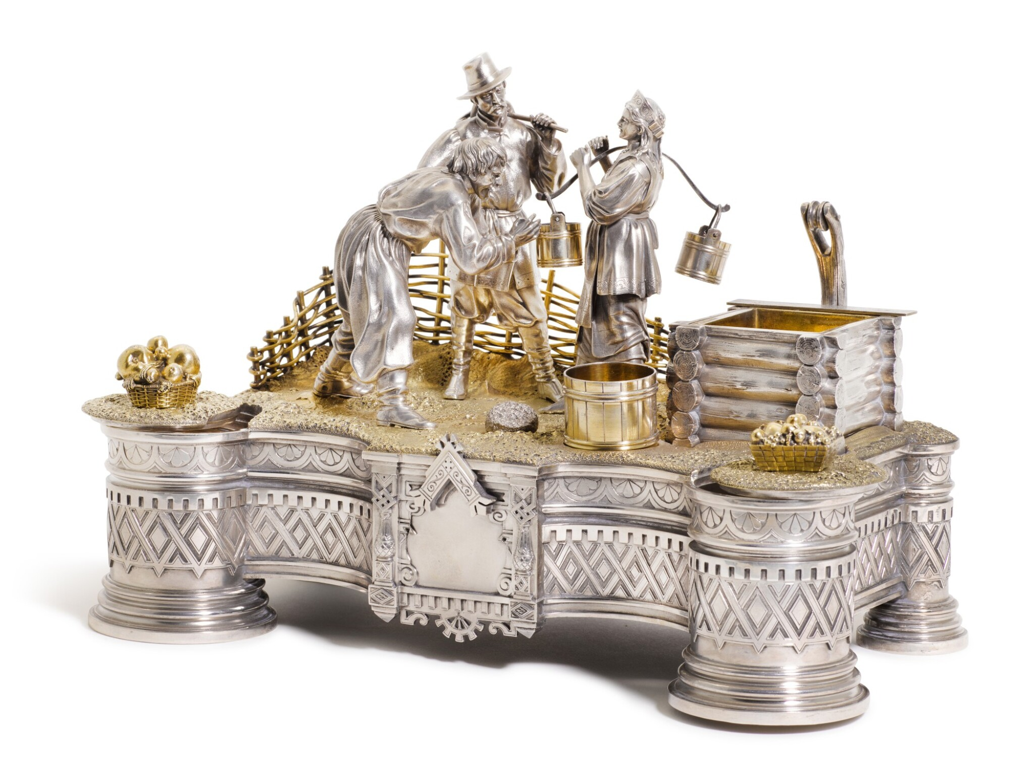 View full screen - View 1 of Lot 206. An Impressive parcel-gilt silver figural inkwell, Ivan Khlebnikov, Moscow, 1875.