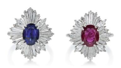 PAIR OF SAPPHIRE, RUBY AND DIAMOND RINGS