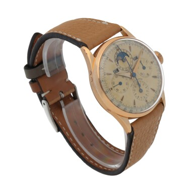 View 3. Thumbnail of Lot 202. TRI-COMPAX, REF 12295 PINK GOLD TRIPLE CALENDAR CHRONOGRAPH WRISTWATCH WITH MOON PHASES CIRCA 1950.