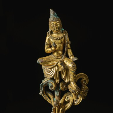 View 3. Thumbnail of Lot 590. A GILT-BRONZE FIGURE OF A SEATED BODHISATTVA,  TANG DYNASTY.