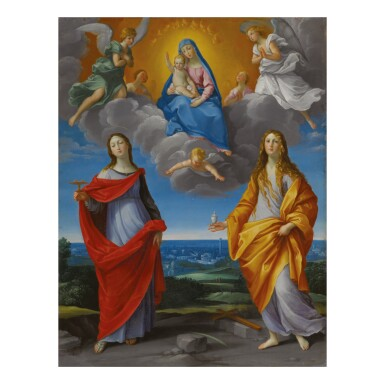 STUDIO OF GUIDO RENI | MADONNA DELLE NEVE, WITH ST. LUCY AND ST. MARY MAGDALENE