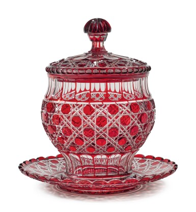View 1. Thumbnail of Lot 326. A FRENCH RED-TINTED CUT-GLASS PUNCH BOWL, COVER AND STAND, LATE 19TH CENTURY.