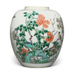 A famille-verte 'bird and flower' jar, Qing dynasty, Kangxi period