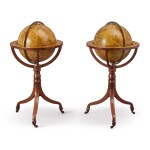 A PAIR OF REGENCY FIFTEEN-INCH CELESTIAL AND TERRESTRIAL GLOBES BY CARY ON TURNED MAHOGANY TRIPOD STANDS, DATED 1818-1820
