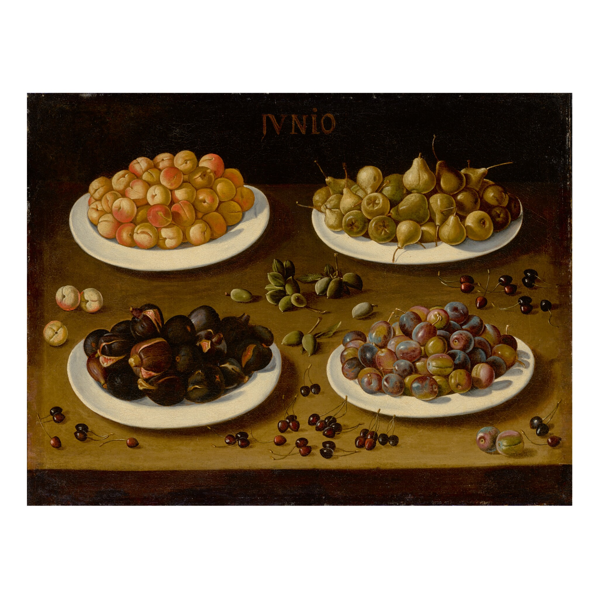 View full screen - View 1 of Lot 79. SPANISH SCHOOL, 17TH CENTURY | AN ALLEGORICAL STILL LIFE OF JUNE, WITH PLATES OF APRICOTS, PEARS, FIGS, AND PLUMS, AND ALMONDS AND CHERRIES SCATTERED ON THE TABLE.