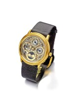 AUDEMARS PIGUET | QUANTIÈME PERPÉTUEL AUTOMATIQUE A YELLOW GOLD AUTOMATIC SKELETONIZED PERPETUAL CALENDAR WRISTWATCH WITH MOON PHASES CIRCA 1990