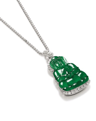 View 3. Thumbnail of Lot 1685. Jadeite 'Guanyin' and Diamond Pendent Necklace | 天然翡翠雕「觀音」配 鑽石 項鏈.