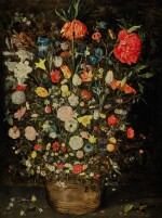 Still life with a large bouquet of flowers in a wooden bucket, including a crown imperial lily, roses, tulips and other flowers, with butterflies, insects and berries on the shelf beneath |《靜物畫:木盆裡的大束鮮花,包括一朵冠花貝母、玫瑰、鬱金香,盆架上有蝴蝶、昆蟲、莓果》