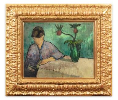 View 2. Thumbnail of Lot 30. Jeune femme lisant en kimono.