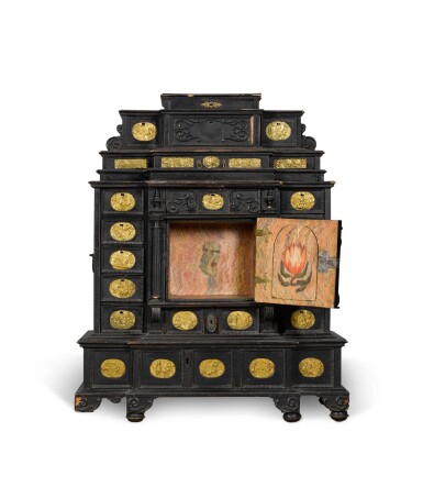 View 2. Thumbnail of Lot 86. A South German gilt-metal mounted, ebonised and carved table cabinet, possibly Augsburg, early 17th century.