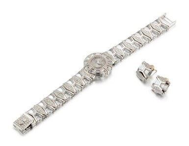 View 2. Thumbnail of Lot 1101. CORUM   LIMELIGHT, REFERENCE 37.780.69 M233 A WHITE GOLD, ROCK CRYSTAL AND DIAMOND-SET BRACELET WATCH WITH A PAIR OF EARRINGS CONVERTED FROM EXTRA LINKS, CIRCA 1993.
