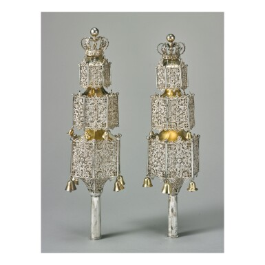 View 1. Thumbnail of Lot 1. A PAIR OF LARGE DUTCH PARCEL-GILT SILVER AND FILIGREE TORAH FINIALS, HEDDE BUYS OF SHOONHOVEN, 1845.