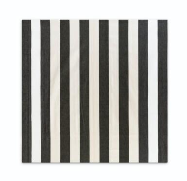 View 2. Thumbnail of Lot 130. Peinture acrylique blanche sur tissu rayé blanc et noir.