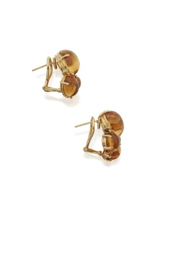 View 3. Thumbnail of Lot 114. PAIR OF CITRINE AND YELLOW SAPPHIRE EARCLIPS, SEAMAN SCHEPPS.