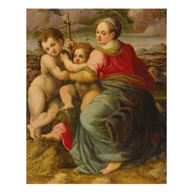 View 1. Thumbnail of Lot 58. MICHELE TOSINI, CALLED MICHELE DI RIDOLFO DEL GHIRLANDAIO | MADONNA AND CHILD WITH ST. JOHN THE BAPTIST.