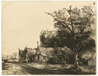 REMBRANDT HARMENSZ. VAN RIJN | LANDSCAPE WITH THREE GABLED COTTAGES BESIDE A ROAD (BARTSCH, HOLLSTEIN 217; NEW HOLLSTEIN 248; HIND 246)