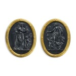 A PAIR OF WEDGWOOD STYLE BLACK BASALT OVAL PLAQUES OF 'NIGHT' AND 'DAY' 20TH CENTURY