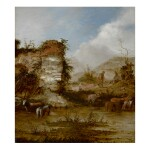 JACOB SIBRANDI MANCADAN | RIVER LANDSCAPE WITH CATTLE WATERING AND HERDSMEN RESTING ON THE BANK
