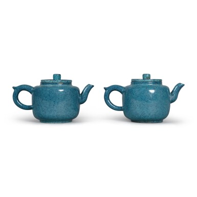 View 1. Thumbnail of Lot 29. A pair of 'robin's egg'-glazed Yixing teapots and covers, Late Qing dynasty.