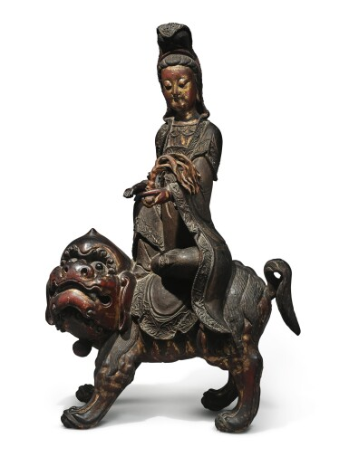 View 1. Thumbnail of Lot 1108. A LARGE LACQUERED AND GILT-WOOD FIGURE OF SIMHANADA AVOLOKITESHVARA,  LATE MING / EARLY QING DYNASTY.