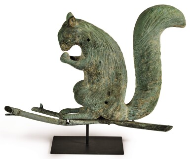 VERY FINE AND RARE FULL-BODIED MOLDED COPPER SQUIRREL WEATHERVANE, ATTRIBUTED TO CUSHING & WHITE OR L.W. CUSHING AND SONS (ACTIVE 1865-1933)  WALTHAM, MASSACHUSETTS, CIRCA 1870-85