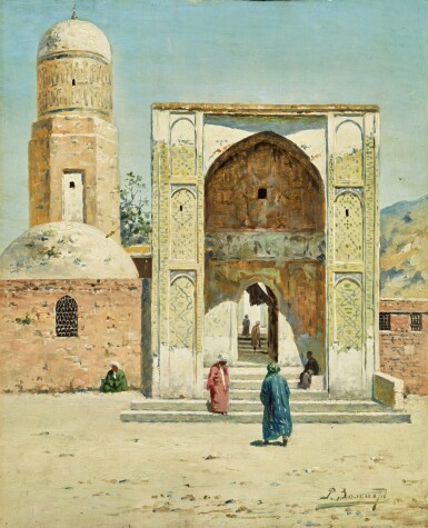 View 2. Thumbnail of Lot 22. RICHARD KARLOVICH ZOMMER | A SHADED ARCHWAY AND MOSQUE IN TURKESTAN (A PAIR).