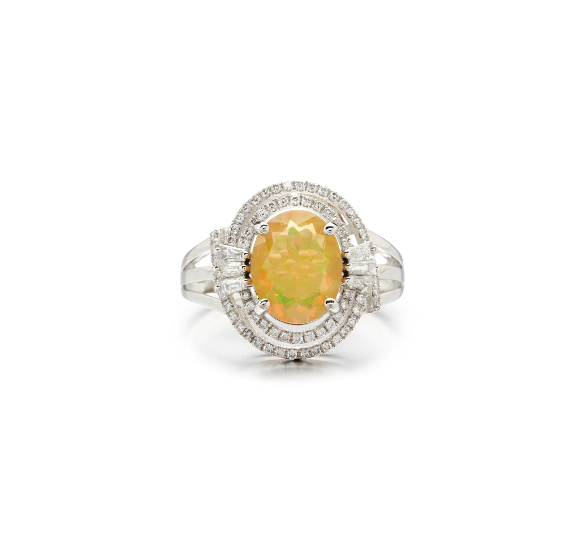 View full screen - View 1 of Lot 28. OPAL AND DIAMOND RING.