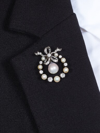View 4. Thumbnail of Lot 9009. Natural Pearl and Diamond Brooch, 19th Century | 天然海水珍珠 配 鑽石 胸針, 19世紀.