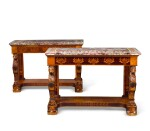 PAIR OF SOUTH ITALIAN ROSEWOOD AND FRUITWOOD CONSOLE TABLES WITH PIETRE DURE TOPS CIRCA 1830, PROBABLY NAPLES