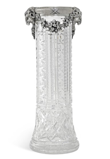 View 1. Thumbnail of Lot 110. A silver-mounted, cut-glass vase, St Petersburg, 1908-1917.