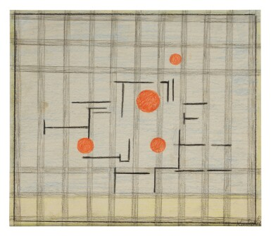 ILYA KABAKOV | GEOMETRIC COMPOSITION WITH FOUR RED DOTS
