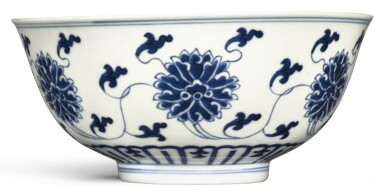 View 1. Thumbnail of Lot 333. A BLUE AND WHITE 'LOTUS' BOWL DAOGUANG SEAL MARK AND PERIOD   清道光 青花纏枝蓮紋盌 《大清道光年製》款.