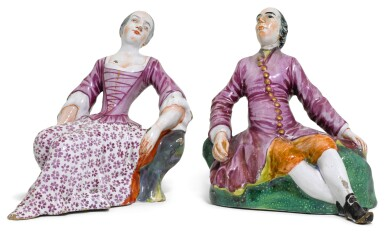 A PAIR OF DUTCH DELFT SEATED FIGURES OF A LADY AND GENTLEMAN, CIRCA 1765