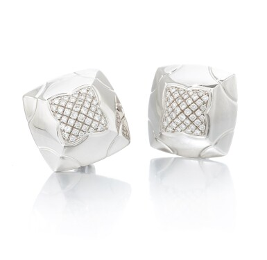View 1. Thumbnail of Lot 134. Pair of diamond earclips (Paio di orecchini a clip con diamanti).