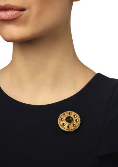 View 2. Thumbnail of Lot 52. CARLO GIULIANO   GOLD AND ZIRCON PENDANT-BROOCH .