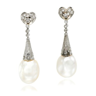 View 1. Thumbnail of Lot 53. Pair of natural pearl and diamond earrings, early 20th century composite.