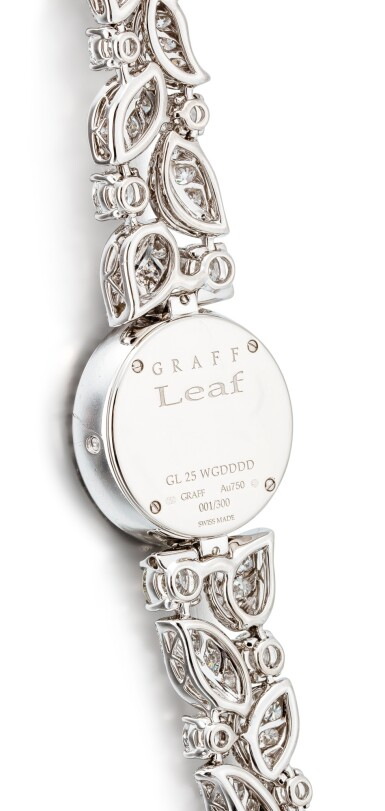 View 3. Thumbnail of Lot 1057. 'Graff Leaf' Reference GL25WGDDDD, Limited Edition White Gold and Diamond-Set Wristwatch, Number 1   格拉夫  Graff Leaf編號GL25WGDDDD,限量版白金鑲鑽石腕表,編號1,約2010年製.