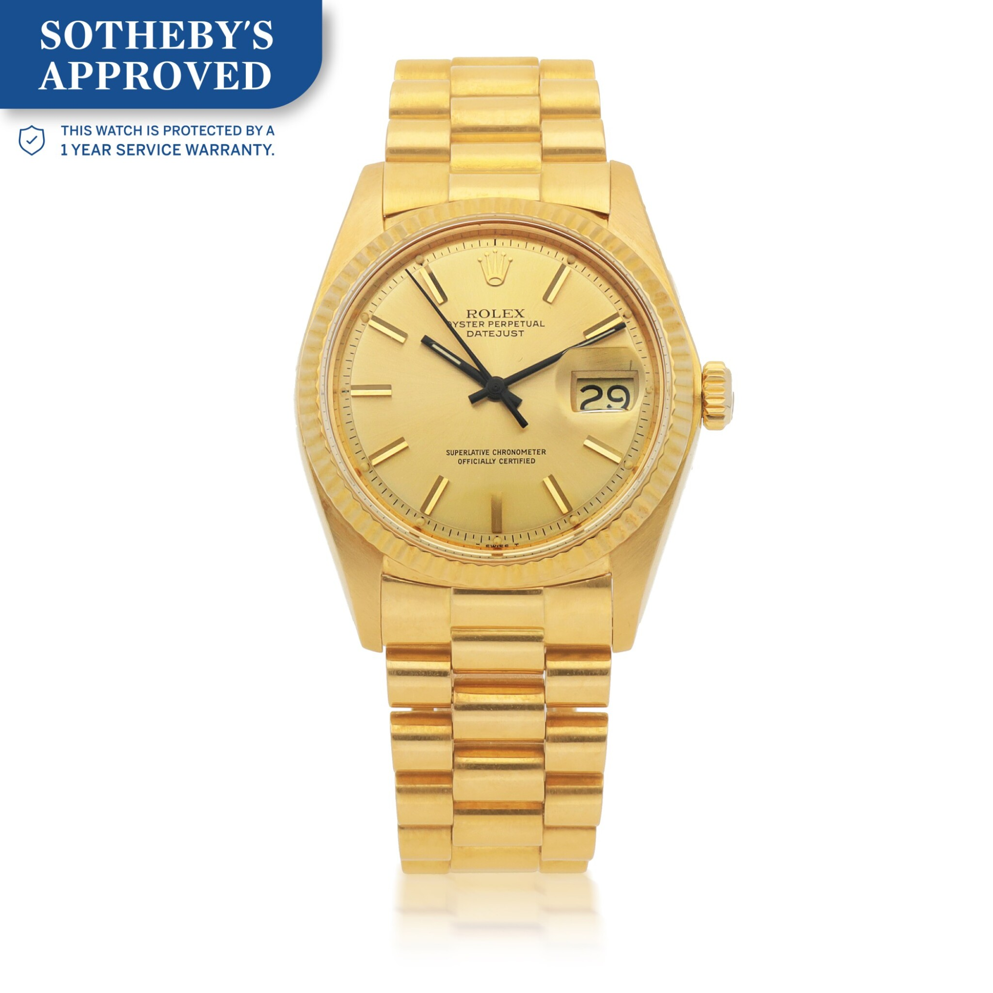 View full screen - View 1 of Lot 653.  DATEJUST, REF 1601  YELLOW GOLD WRISTWATCH WITH DATE AND BRACELET CIRCA 1976.
