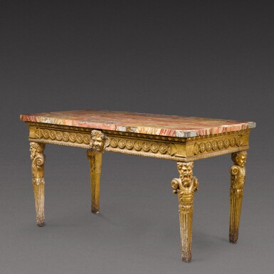 View 5. Thumbnail of Lot 174. An Italian Neoclassical carved giltwood console table, Rome, circa 1780.