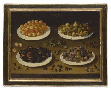 View 2. Thumbnail of Lot 563. SPANISH SCHOOL, 17TH CENTURY | AN ALLEGORICAL STILL LIFE OF JUNE, WITH PLATES OF APRICOTS, PEARS, FIGS, AND PLUMS, AND ALMONDS AND CHERRIES SCATTERED ON THE TABLE.