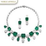 Moussaieff | Impressive emerald and diamond demi-parure | Moussaieff | 祖母綠配鑽石首飾套裝