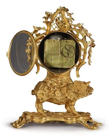 View 4. Thumbnail of Lot 149. A LOUIS XV GILT BRONZE MANTEL CLOCK, CIRCA 1750.