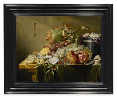 View 3. Thumbnail of Lot 127. LAURENS CRAEN  |  A STILL LIFE WITH A POMEGRANATE AND OTHER FRUITS, OYSTERS, SHRIMPS AND SHELLS ON A VELVET BOX ON A TABLE.