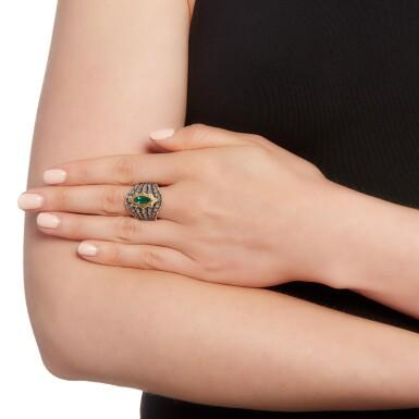 View 4. Thumbnail of Lot 64. Mario Buccellati   Emerald and diamond ring.