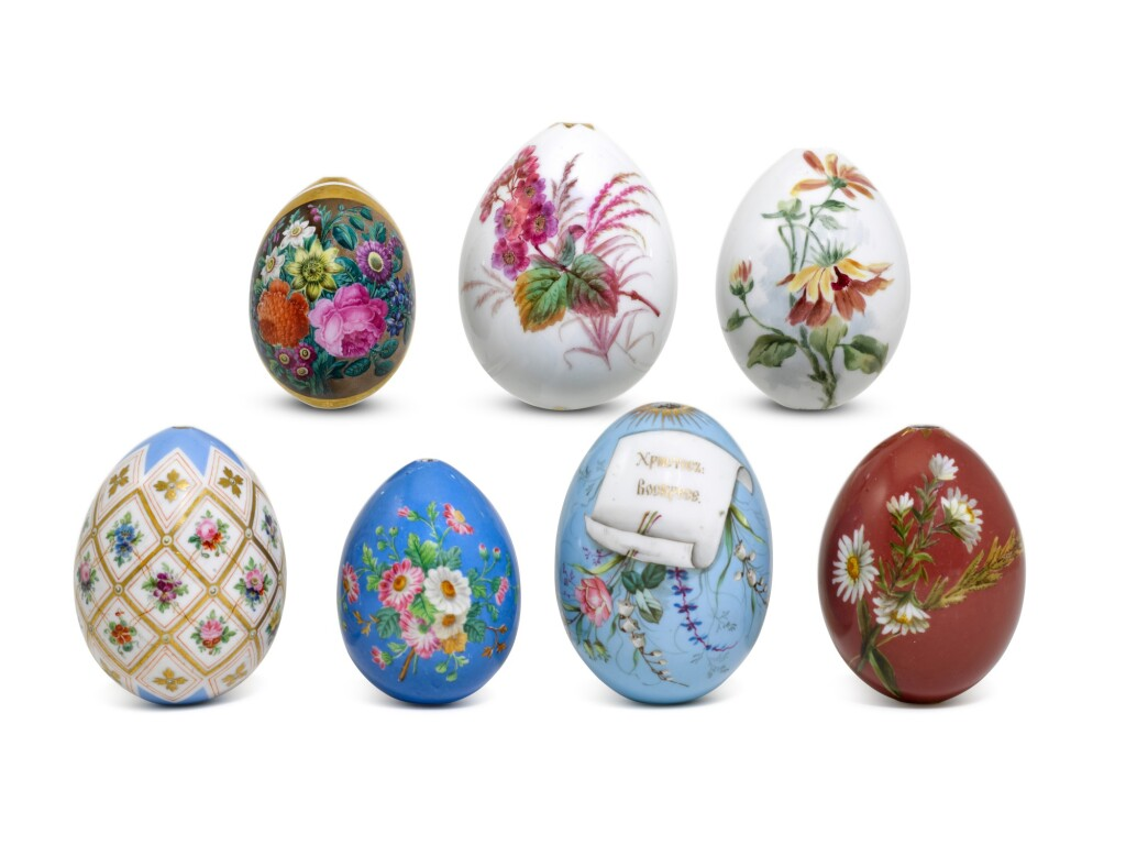SEVEN PORCELAIN EASTER EGGS, IMPERIAL PORCELAIN FACTORY, ST PETERSBURG, 19TH/EARLY 20TH CENTURY