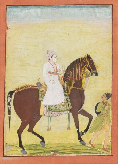 View 5. Thumbnail of Lot 34. INDIA, 19TH CENTURY | FOUR EQUESTRIAN PORTRAITS OF DIGNITARIES .