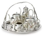 A FRENCH SILVER AND MIXED METAL FOUR-PIECE TEA SET WITH MATCHING TRAY, CHRISTOFLE & CIE, PARIS, CIRCA 1880