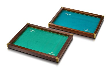 ROLEX | A PAIR OF WOODEN PRESENTATION TRAYS WITH BRASS CORNERS AND INNER LINEN PADING, CIRCA 1960